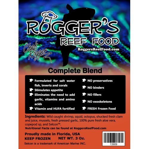 4 x Rogger's Reef Food Complete Blend, 7 Oz, Best Complete Frozen Food Blend, All in One for Your Fish and Corals -