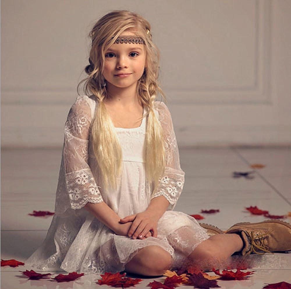 Amazoncom Sunnygirls Boho White Lace Flower Girl Dress Wedding