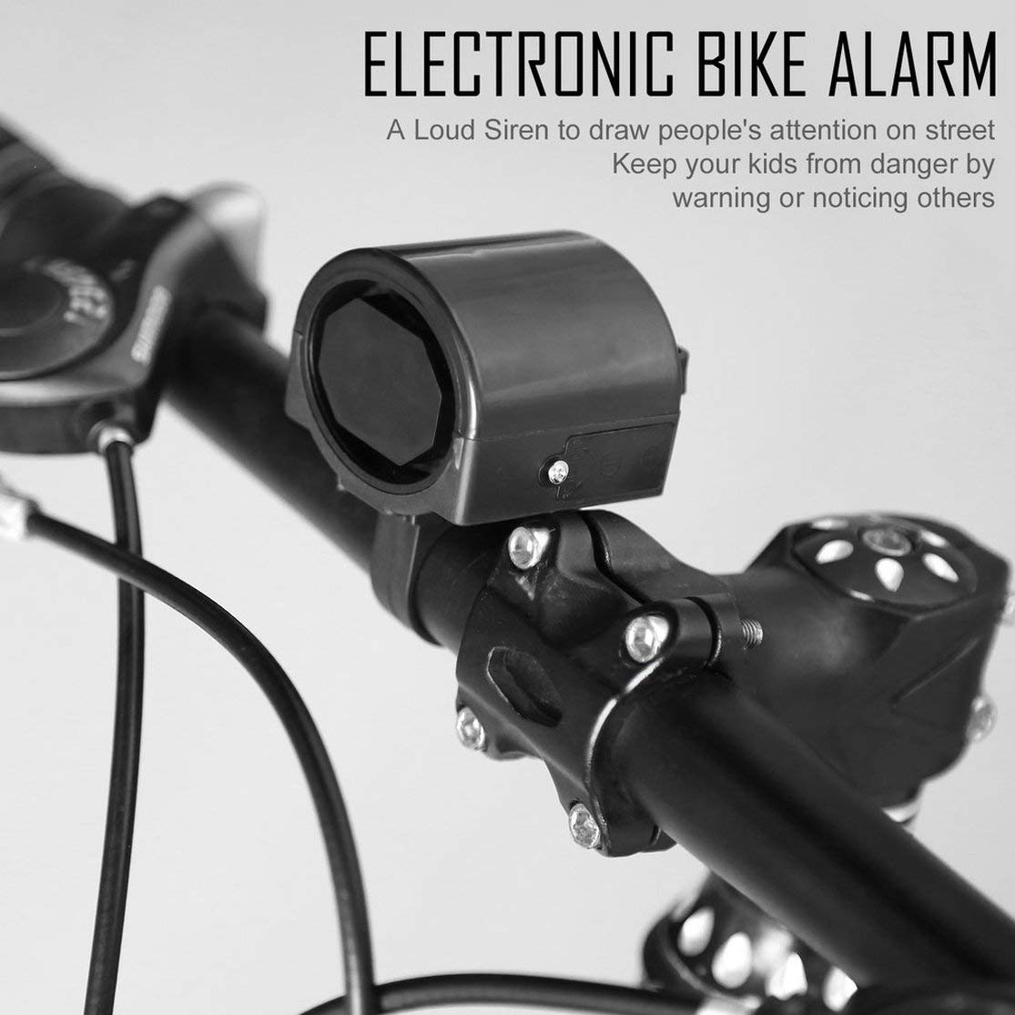 LouiseEvel215 Mini Electronic Bicycle Horn Electrical Bike Bell Cycling Handlebar Ultra Loud Alarm Ring Battery Powered 360 Degree Rotating