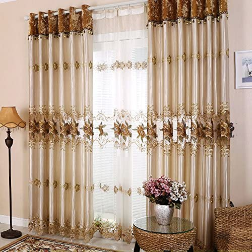 Hjmeifu Luxury Embroidery Window Sheer Curtains Panels Tulle, One Piece, 108 x 96 inch, Processed with Grommet Top