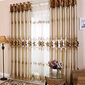 Delightful Hjmeifu Luxury Embroidery Window Sheer Curtains Panels Tulle, One Piece,  108 X 96 Inch