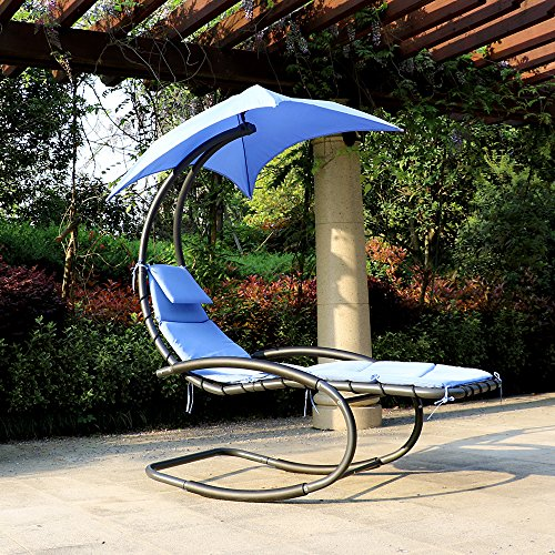 iKayaa Hanging Chaise Lounger Swing with Canopy Air Porch...