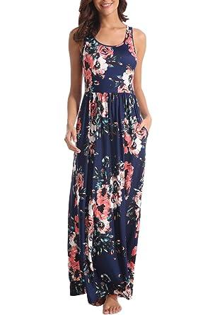 79a00af9ec Zattcas Women Floral Tank Maxi Dress Pocket Sleeveless Casual Summer Long  Dress,Navy,Small