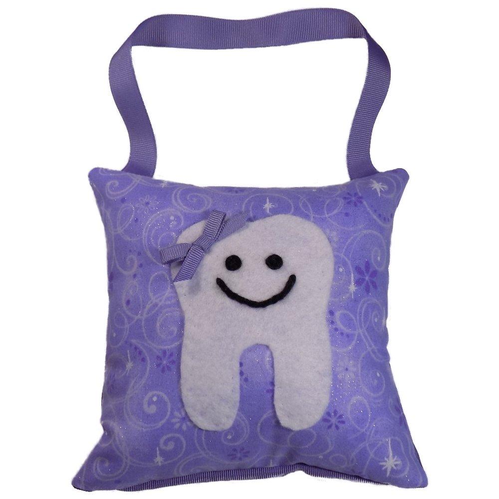 Tooth Fairy Pillow Keepsake Girl's Stars, Swirls, Glitter, and Sparkle Design Print - Lilac