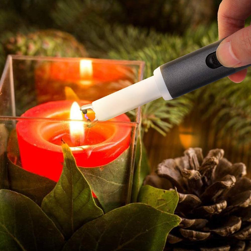 Arc Lighter USB Rechargeable Candle Lighter Flameless Electronic Lighter Windproof Plasma Long Neck Lighters with LED Battery Indicator for Candle,Fireworks,Grill,Barbecue,Stove Black