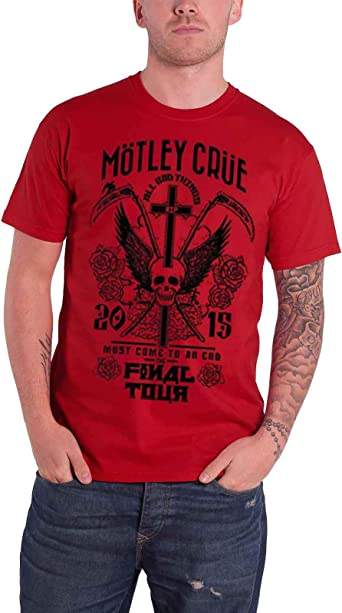 Motley Crue T Shirt Final World Tour 2015 Band Logo Officiel Homme
