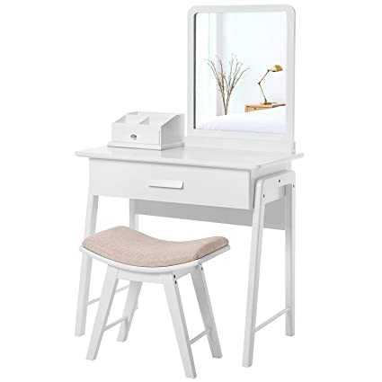 SONGMICS Vanity Table Set With Square Mirror And Makeup Organizer Dressing  Table 1 Large Drawer With