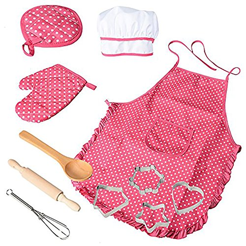 FairySu Pretend Play Toys Chef Set Kids Cooking Career Role Play with Chef Apron, Mitt, Hat, and Other Accessories for Children Pretend Play 11 Pcs for Present and Christmas Gifts