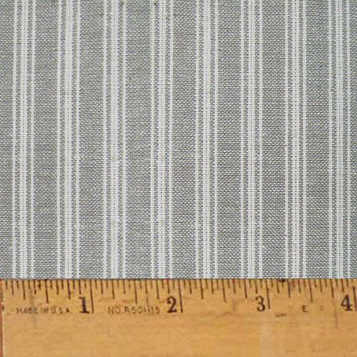 Homespun Cotton Fabric - Magnolia Gray Ticking Stripe Homespun Cotton Plaid Fabric by JCS - Sold by the Yard