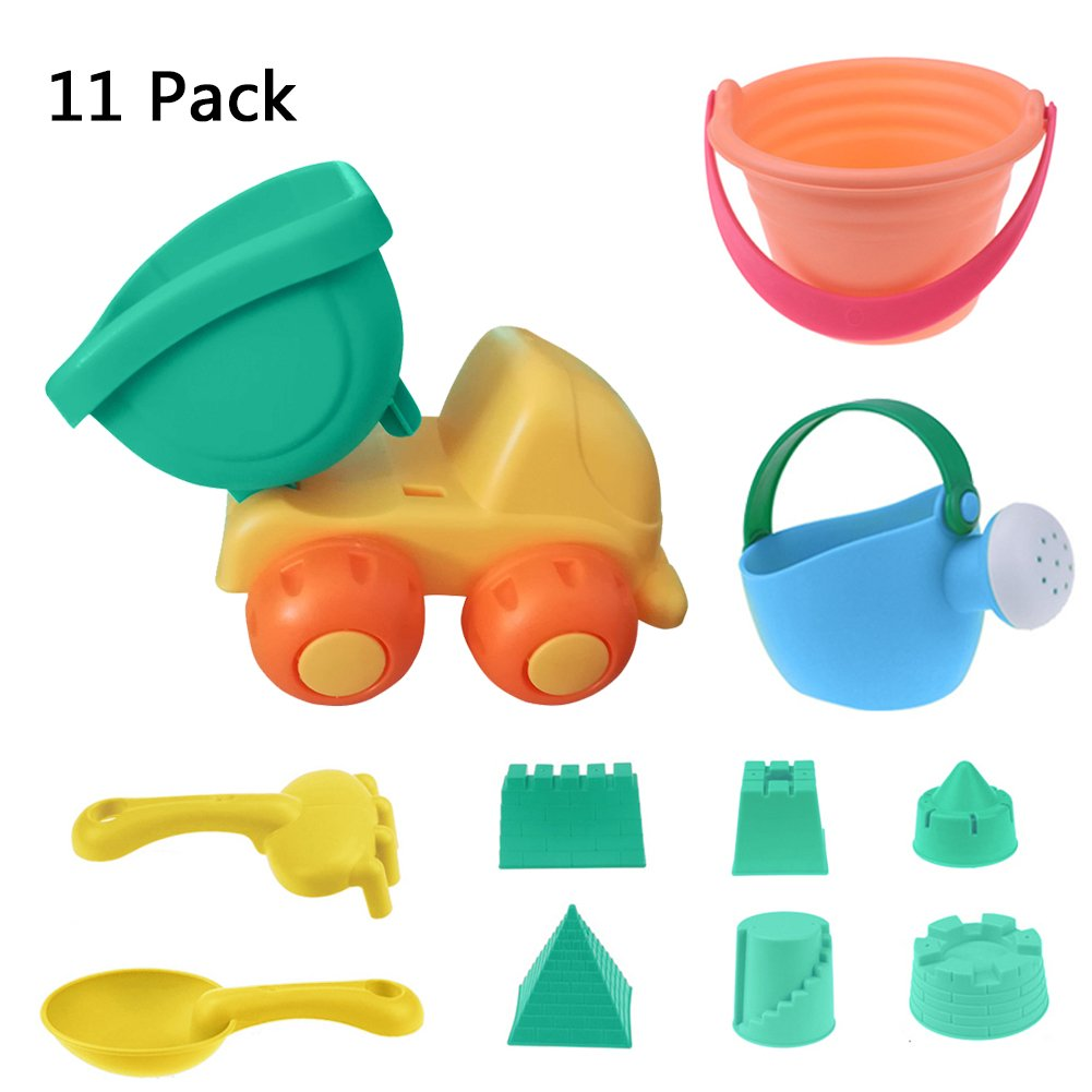 WSXUS Beach Toys Set, 11 Pieces Sand Toys , Natural Soft Silicone Material Sandbox Accessories with Mesh Bag - Sand Molds , Bucket ,Truck ,Shovel ,Rake ,Watering Can ,Outdoor Pool Bath Play Set