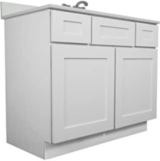 everyday cabinets bathroom vanity single sink cabinet in shaker white with soft close drawers and doors