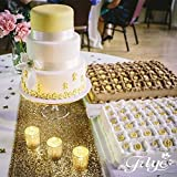 TRLYC 50Pcs 12 by 108-Inch Gold Sequin Tablerunner