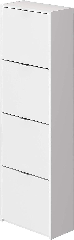 Marca Amazon -Movian Idro Modern - Armario zapatero de 4 puertas, 25 x 52 x 163 cm (blanco)