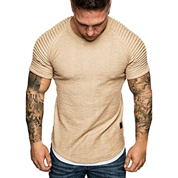 Chiccc Men Muscle Fitness Gym Tops Bodybuilding Workout Shirts Fashion  Men's Summer Pleats
