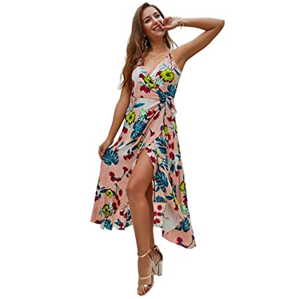 5b431cbf5b Women Spaghetti Strap Sleeveless Casual Long Maxi Dress Summer Beach Dress  Floral Printed Dress Wrap Deep