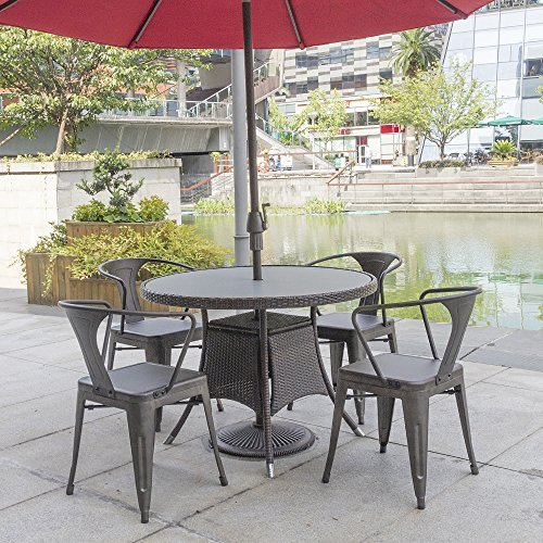 Furmax Metal Dining Chair Tolix Style Indoor Outdoor Use Stackable Chic Dining Bistro Cafe Side Metal Chairs Set of 4(Gun) by Furmax (Image #6)