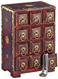 StealStreet SS-IA-WB310 11 inch Antique Style Wood Box with 12 Drawers