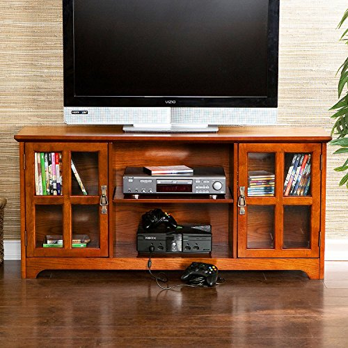 Media Stand Murphy Collection with Tempered Glass Doors and Adjustable Shelves in Mission Oak (Tempered Glass Media)