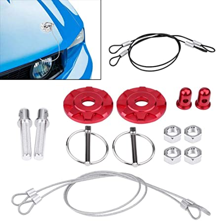 Senyar 2Pcs Hook Pins with Accessories,Universal CNC Aluminum Alloy Car Racing Hood Pin Lock Appearance Kit Red