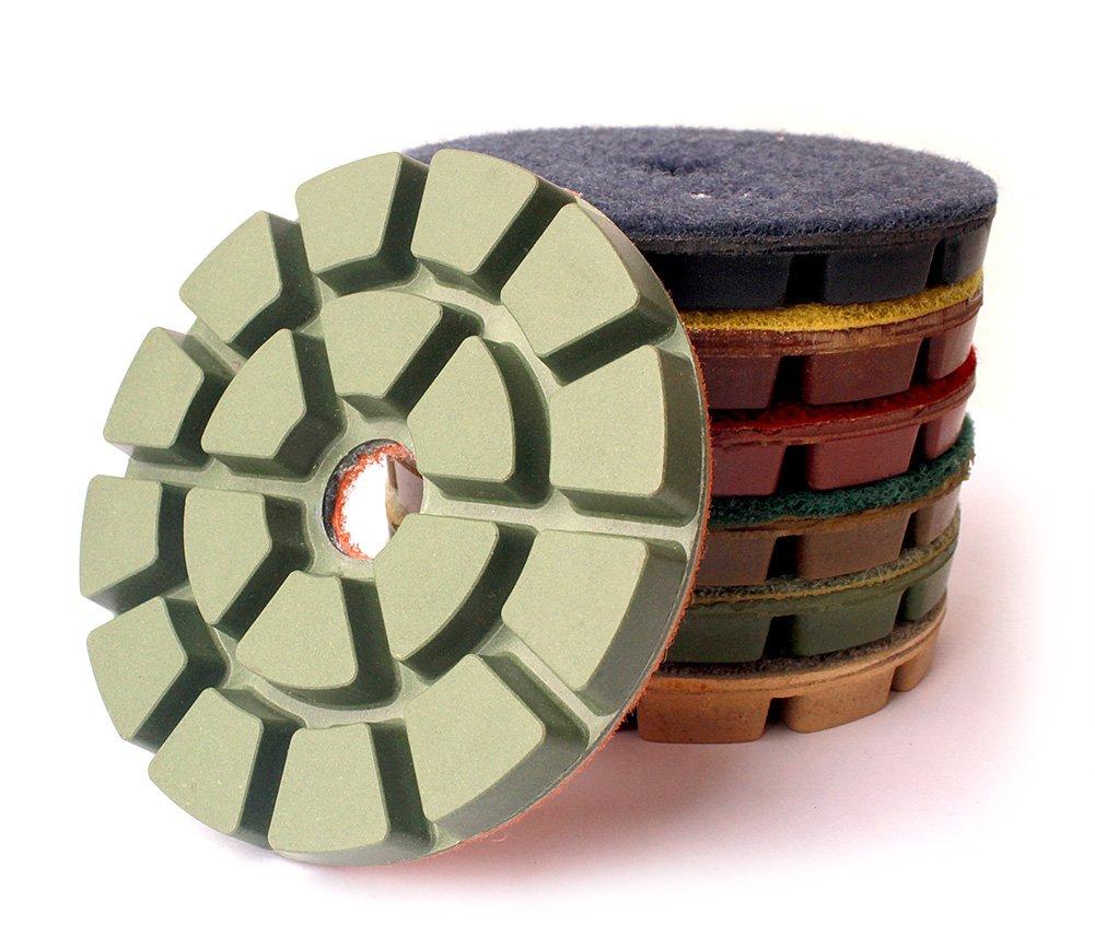4 Inch Diamond Floor Polishing Pads for Floor Concrete Wet Polishing 7 Pcs Set by Z-LION