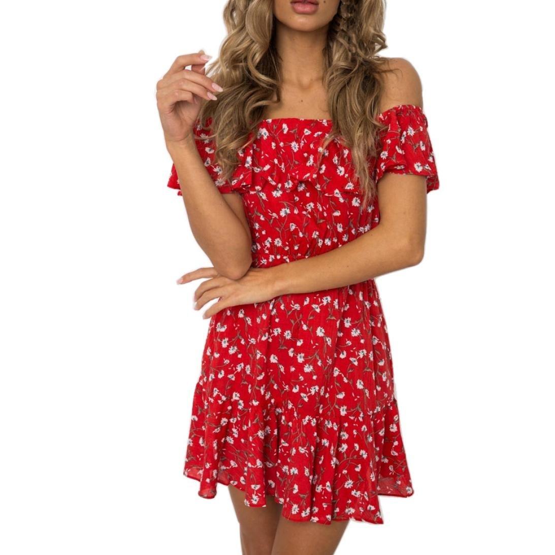 Maonet Women Summer Beach Bohemian Off Shoulder Ruffles Skater A Line Mini Dress (S, Red)
