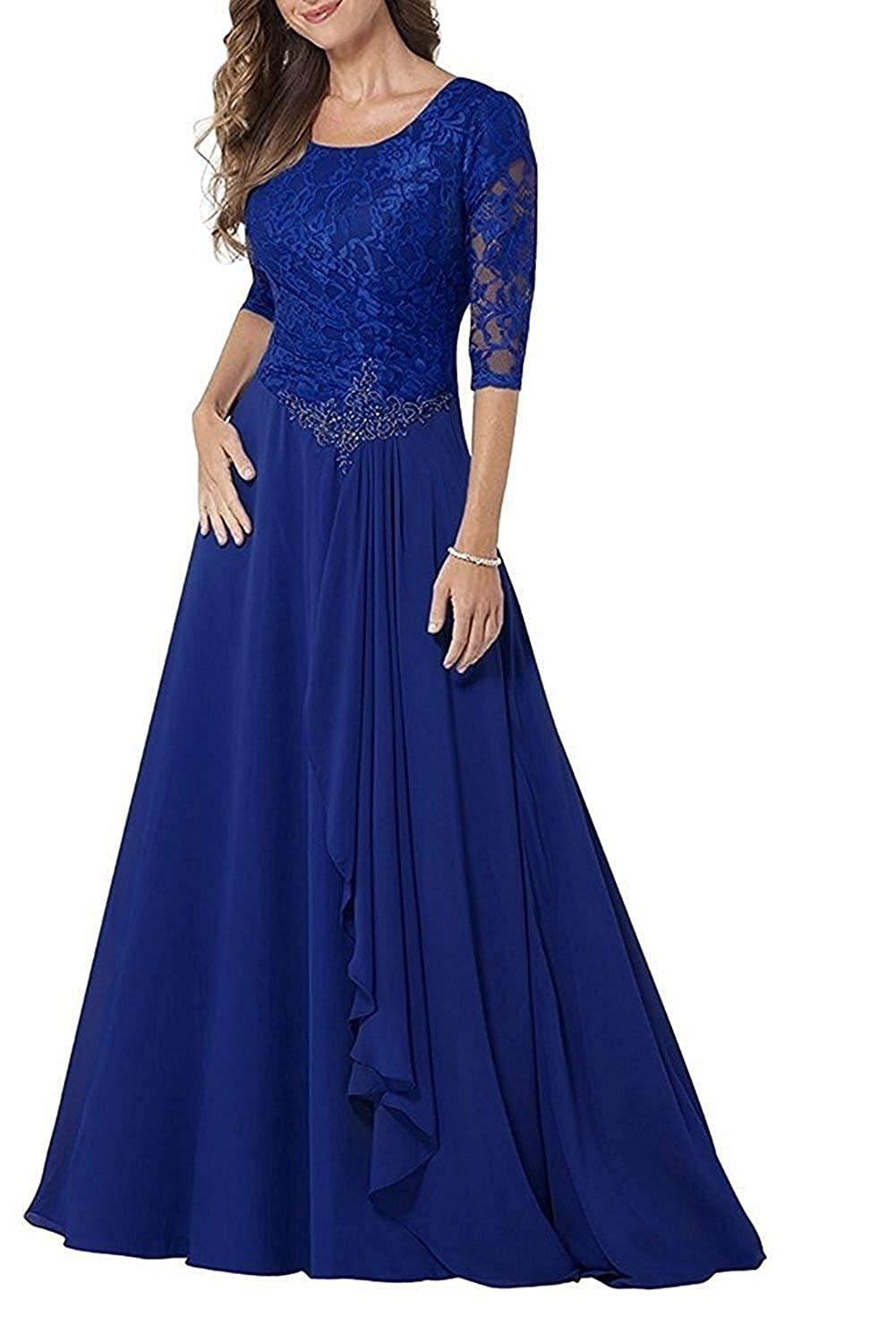 Royal bluee Mother of The Bride Dresses Half Sleeve Lace Prom Party Wedding Gown