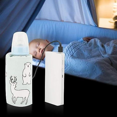 Calentador de biberones USB para bebés, Funda para biberones de dibujos animados Calentador de viaje Cubierta de calefacción Termostato de aislamiento ...