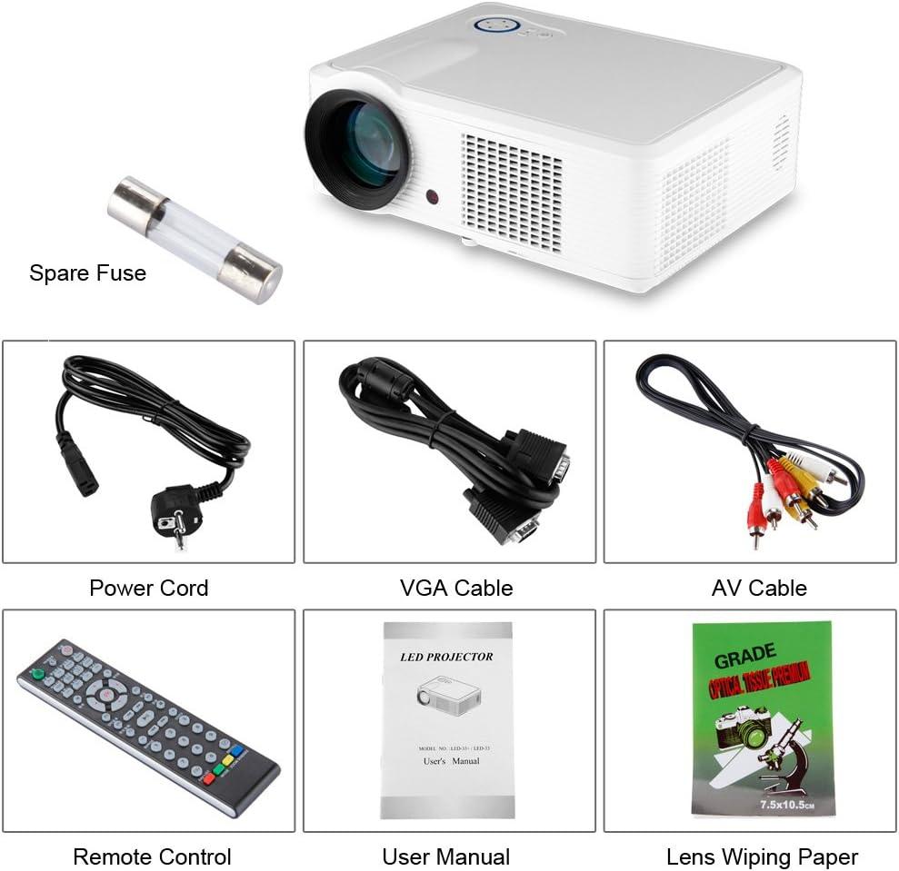 Excelvan 2000 lúmenes Proyector HD Home LED Multimedia Tv Digital ...