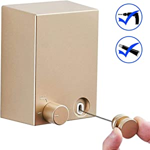 JOOM Retractable Clothesline Indoor Outdoor Heavy Duty Stainless Steel Line Wall Mounted Laundry line for Bathroom Hotel Style Clothesline 13.8 Feet with ABS Case+ Aluminum(one line, Gold)