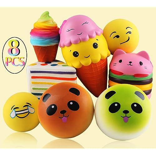 Jumbo Lento Rising SET 8 - Gâteau Arc-en-Triangle, Hamburger pour chat, Crème glacée Super Jumbo, Crème glacée arc-en-ciel, 2 Pain Panda, 2 boules Emoji Couleur aléatoire Kawaii Jouets