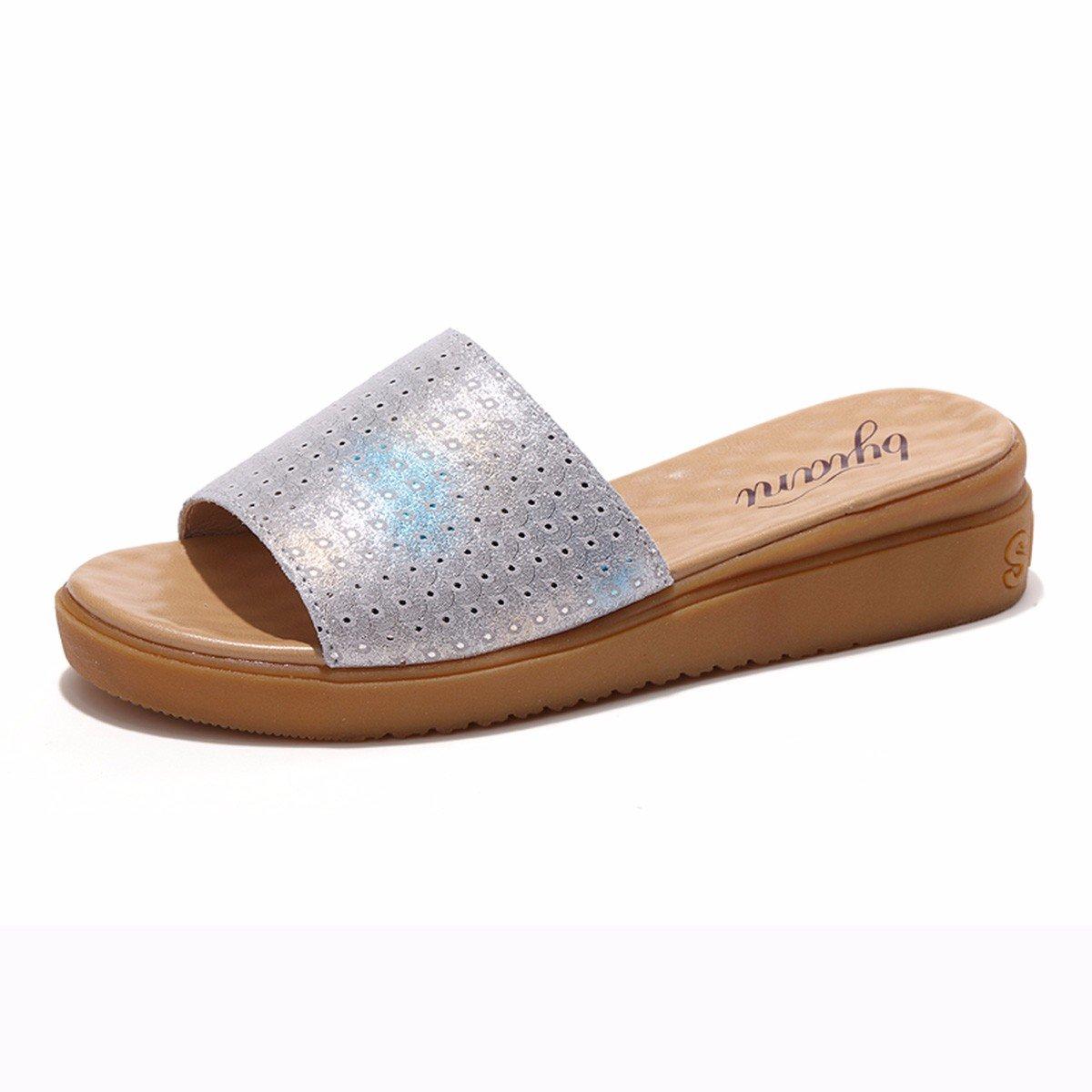 QPSSP Pantoffeln Und Flachen Boden - Schuhe, Sandalen Und Slipper, Sandalen, Sandalen, Damen - Schuhe.  Thirty-eight|white