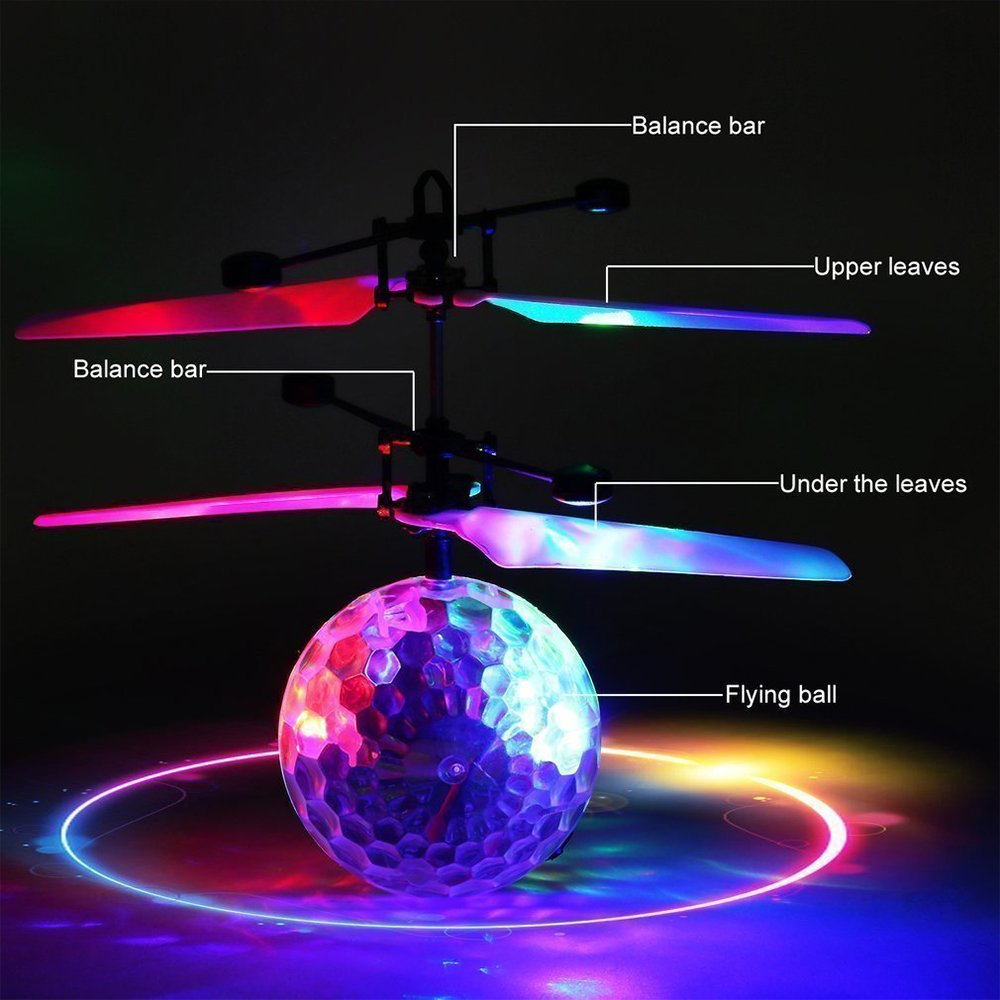 Betheaces Flying Ball, RC Flying Toy, Boys Toys, Infrared Induction Helicopter Drone with Colorful Shinning LED Light and Remote Controller for Kids, Gifts for Boys and Girls, Indoor and Outdoor Game by Betheaces (Image #5)