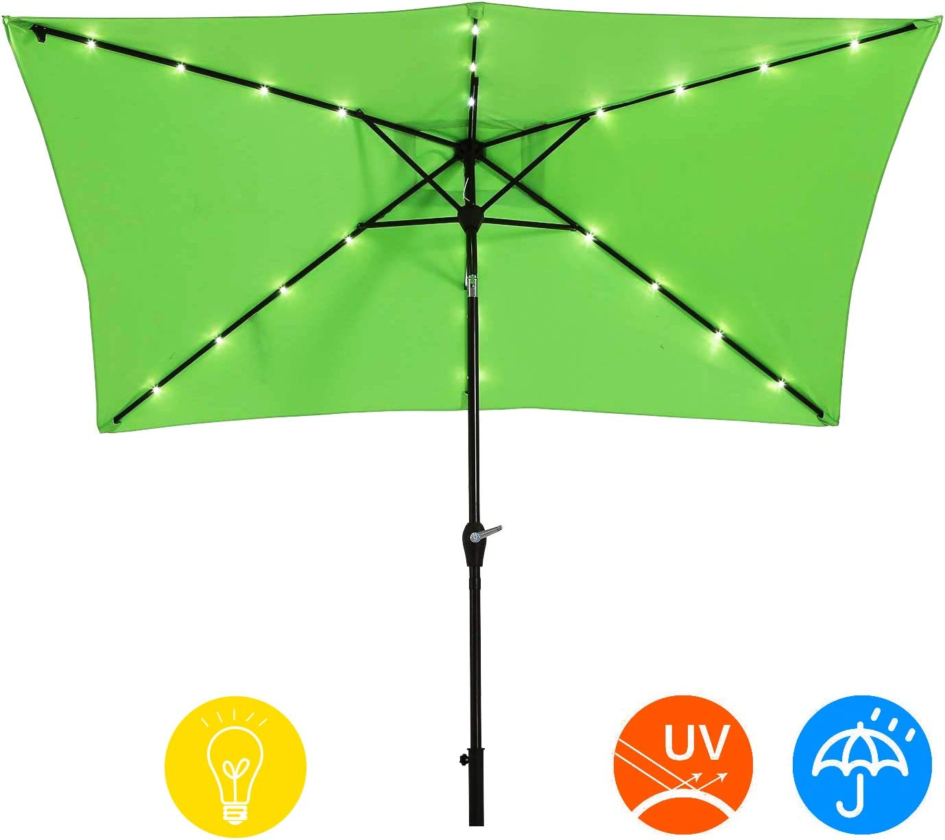 AI-LIN 10 x 6.5ft LED Lighted Patio Market Umbrella Outdoor Solar Powered Table Umbrella, 6 Ribs Light Green