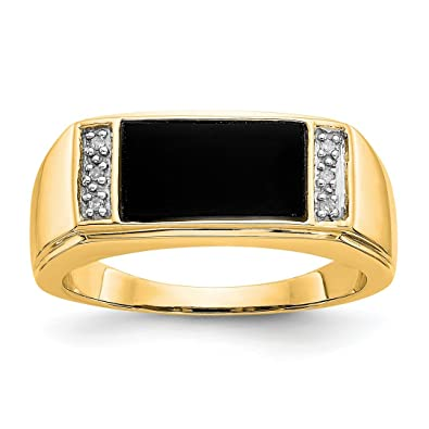 108861572be Image Unavailable. Image not available for. Color  14k Yellow Gold Black  Onyx A Diamond Mens Band Ring ...