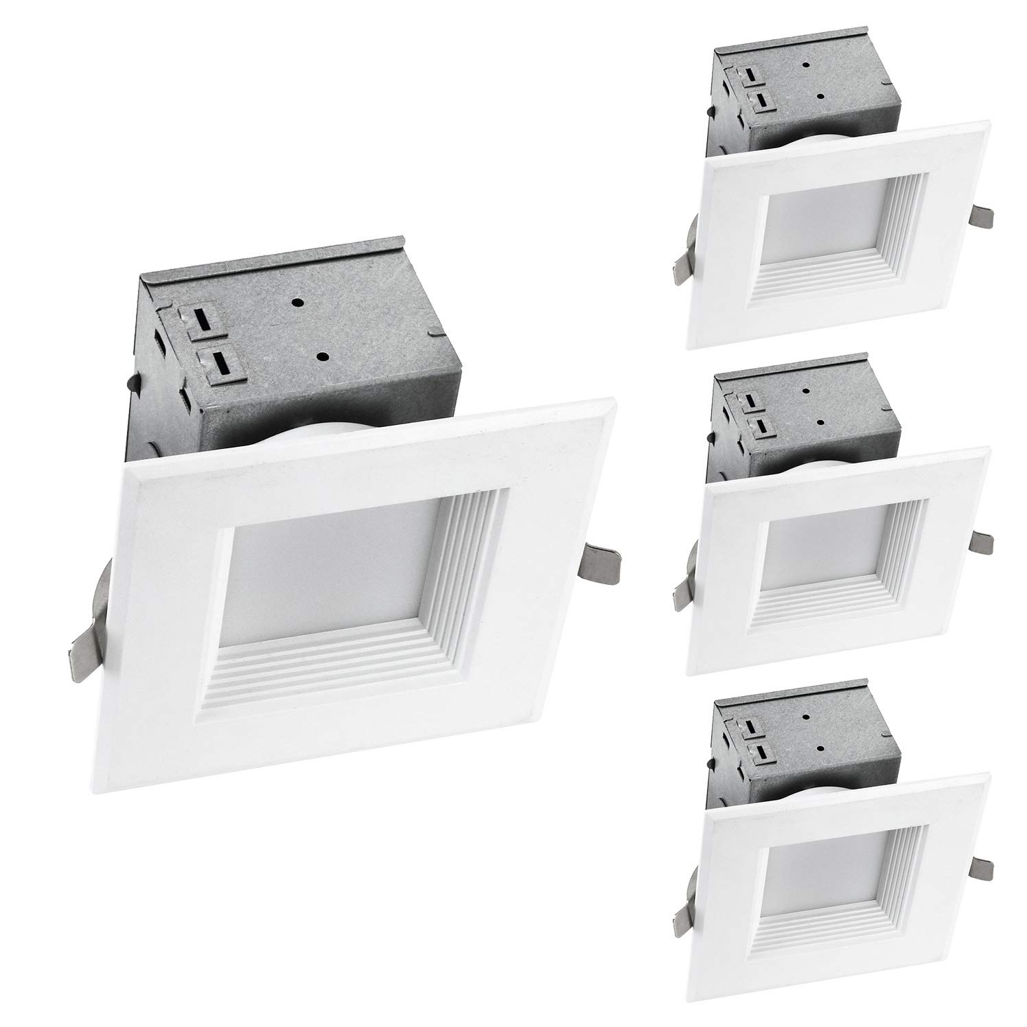 OSTWIN (4 Pack) 4 Inch Square LED Recessed Lighting Junction Box Dimmable LED Recessed Downlight IC Rated 10W (75W Repl) 4000K, 700Lm, Lighting for offices, stores, hotels, ETL and Energy Star Listed