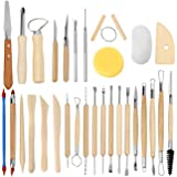 Blisstime Set of 30 Clay Sculpting Tools Wooden Handle Pottery Carving Tool Kit