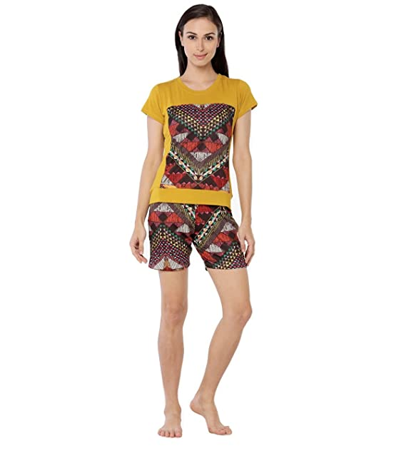 41dbe44d03 Nightwear for Women - Night Suit - Summer Wear - Top   Shorts Combo Set -  Sinker Material - Golden Yellow ...
