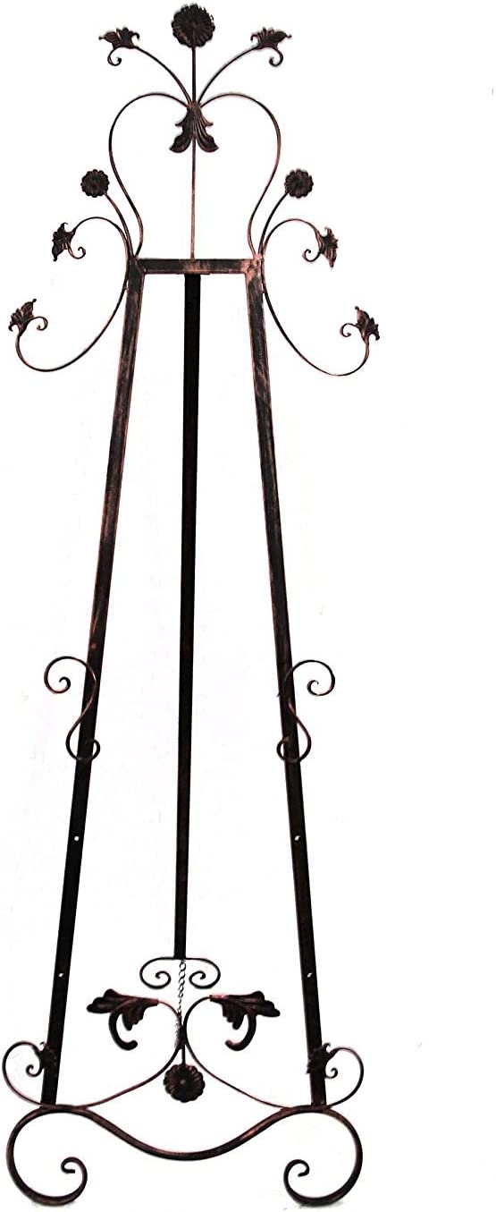 Bronze Signs Adjustable Floor Display for Art Pieces 59 Tall Mirrors and Chalk//Dry Erase Boards Antique Finished Iron Designstyles Decorative Metal Easel Stand Royal Accents