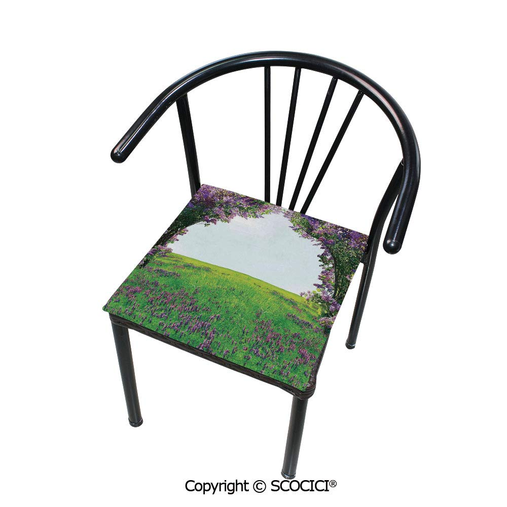 """SCOCICI Customizable Velvet Dining Chair Seat Cushion Meadow Field Violet Flowers Between Trees Dream Inspirational Habitat Landscape Protect Your Chairs from Scratches 16"""" x 16"""""""