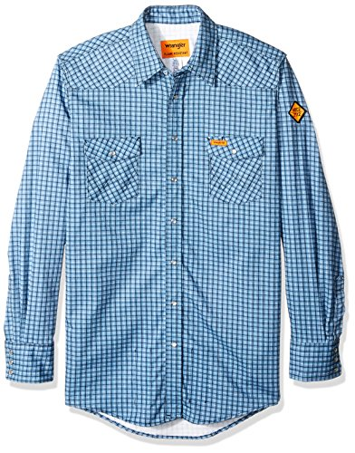 - Wrangler Men's Big and Tall Big & Tall Flame Resistant Western Two Pocket Snap Shirt, Blue Plaid, 3XT