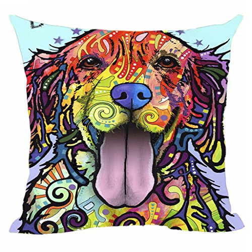 Colorful Dog Cushion Cover Cute Golden Retriever Pillow Covers Square Pillowcase For Home Sofa Couch Chair Seat Office Decorative Throw Pillow Case By CafeTime 18