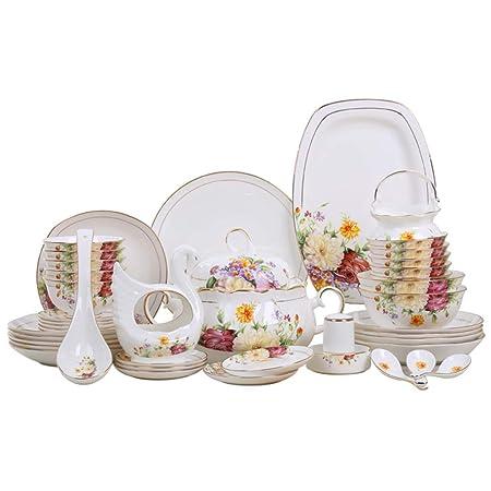YLee Juego de cubertería de Bone China (46 Piezas) China cerámica ...