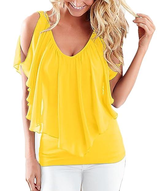 Mujer Camisetas Elegante Verano Chiffon Sin Mangas V Cuello Sin Dulce Lindo Chic Tallas Grandes Blusas