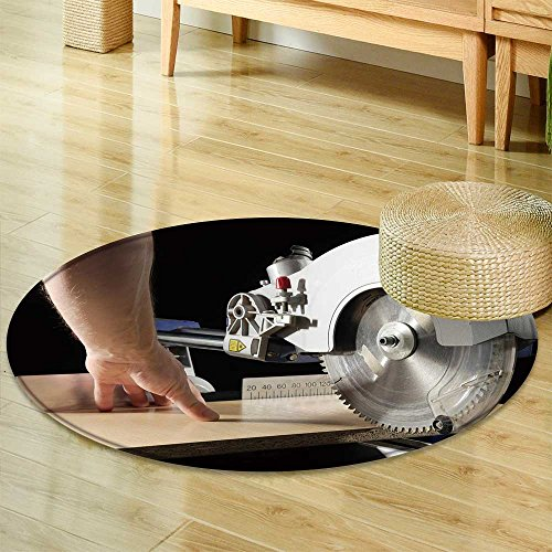 Small Round Rug Carpet Carpenter Cutting flaxboard Using Sliding Compound mitre Saw  Door mat Indoors Bathroom Mats  Non Slip -Round 55
