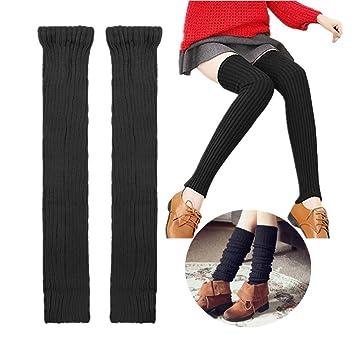 Calcetines por encima de la rodilla de punto, tejido acrílico, sin pie, calentadores