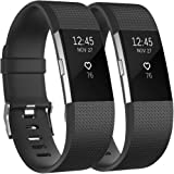 Fundro Replacement Bands Compatible with Fitbit Charge 2, 2 Pack Classic & Special Edition Adjustable Sport Wristbands