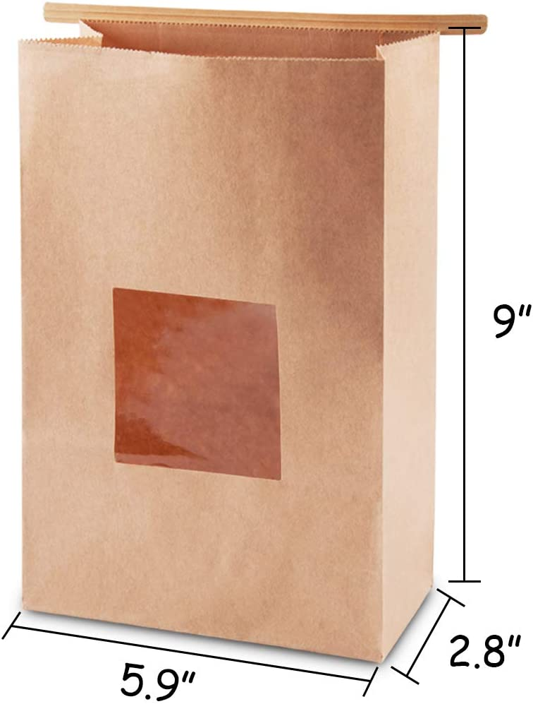 Brown NPLUX Bakery Bags with Window Kraft Paper Bags 50Pcs 5.9x2.8x9 Inches Cookie Bags Coffee Bags Treat Bags