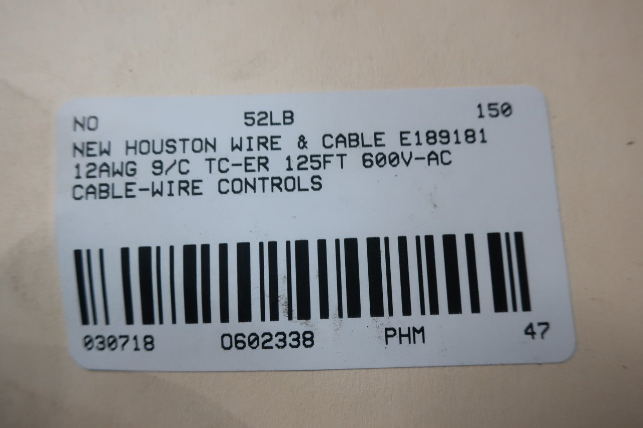 HOUSTON WIRE & CABLE E189181 125FT 12AWG 9/C TC-ER WIRE 600V-AC ...