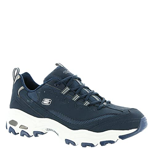 52675 Navy Skechers shoes Mens Memory Foam Sporty Leather Casual D'Lites Sneaker