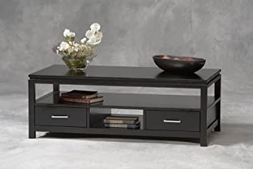 Sutton Coffee Table Shelves Storage   Tables Sofa Console End Set Living  Room Office Wood Black